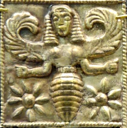 Minoan Bee Goddess, golden plaque, Camiros, Rhodes, 7th century BCE